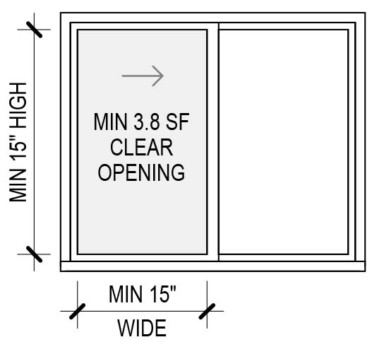 slider window egress dimensions diagram