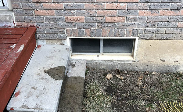 Egress window installation in Brampton Before