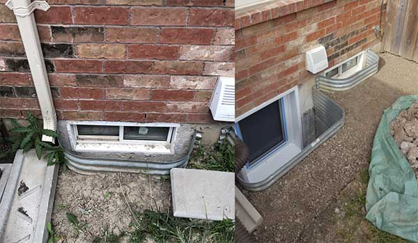 Egress window installation in Hamilton before after