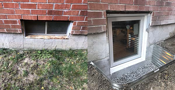 Egress window installation before after
