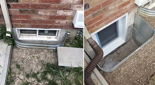 Egress window installation before after vaughan