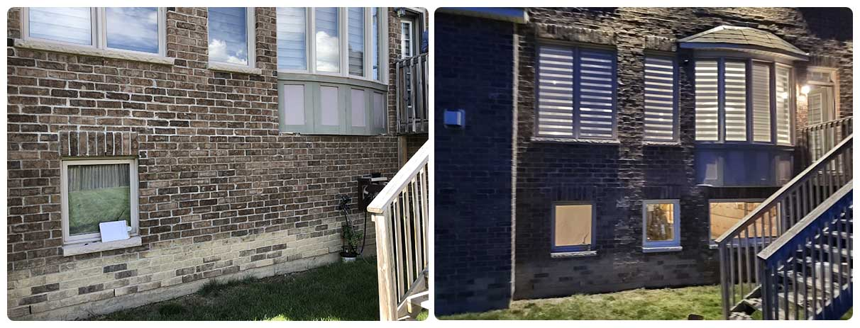 Front of the house before and after window cut out