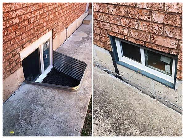 Egress window installation in barrie before and after